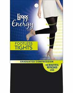 L'eggs Energy Collection Opaque Footless Tights Graduated Compression 360-degree
