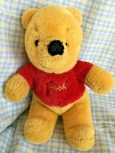 "Old Sears Gund Winnie the Pooh Plush Bear 10"" Stuffed Lovey Soft Red Shirt Clean"