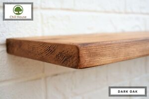 Rustic Flat Floating Shelf Solid Wood Chunky Handmade Oak Industrial Reclaimed