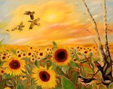 "Art, Painting ""Sun Flower Field"" - Giclee on Canvas 22x 28 LTD. by Yelena Berzon"