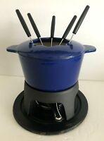 Rachael Ray Blue Cast Iron 1-1/2-Quart Fondue Set With 5 Skewers