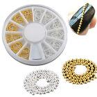 12pcs Gold & Silver 3D Metallic Studs Chain Nail Art Tip DIY Decoration + Wheel