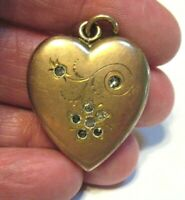 ANTIQUE GOLD FILLED LOCKET HEART PASTE STONES SEALED 23 X 28 MM 7.1 GRAMS