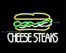 """New Cheese Steaks Shop Open Pub Bar Real Glass Neon Light Sign 24""""x20"""""""