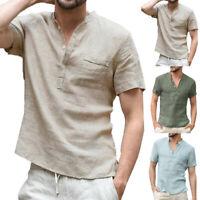 Men Tops V-Neck T Shirt Short Sleeve Casual Linen Shirt Summer Loose Size S-3XL