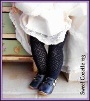 "Black Doll Stockings Socks Fit 15"" to 24"" Antique & Modern Dolls NEW Jumeau Bru"