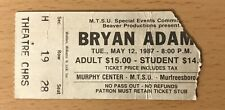 1987 Bryan Adams / Patty Smyth Middle Tennessee State Uni. Concert Ticket Stub