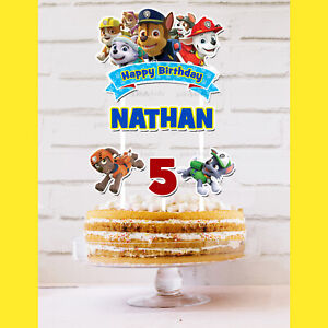 Paw Patrol Cake Topper Personalised *STURDY* Kids Birthday Party Decorations