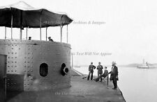 Poster Print: 24 x 36: USS Monitor With Officers, Wide Field: James River, 1862