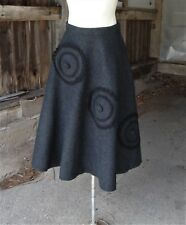 Vtg 1950's Charcoal Wool Felt Circle Skirt with Braid Trimmed Circles and Pocket
