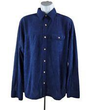 Vintage 70s Enro Vêtements de Sport Boutons-Avant Chemise XL Bleu Marine Poche
