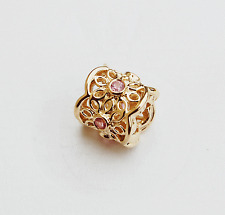 "Genuine Pandora 14ct. Gold Charm ""Pink Freesia"" - 750803PSA - retired"