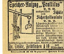 Fr.Schüle Feldkirhen AUFZUG PRAKTIKUS D.R.P.  Historische Reklame von 1917/18