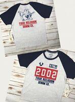 Men True Religion T-Shirt Raglan Crew Graphic Buddha Grey Blue Heather L XL 2XL