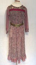 Vintage 70s Dress Sheer Paisley Chiffon Metallic Cocktail Party Midi Abaya Med