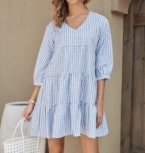 Sommer Kleid Hängerchen Tunika Volant V-Ausschnitt 36 38 40 Blau Weiß R440 NEU
