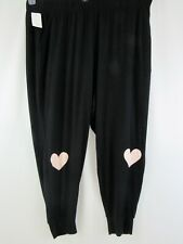 NWT Sleep By Cacique Lounge Sleep Pants 22 / 24 Black with Pink Hearts