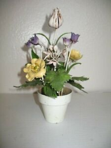Vintage Italian Tole Flowers Floral Topiary Planter Flower Pot