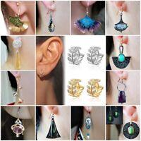 Boho Women 925 Silver White Topaz Turquoise Earrings Ear Studs Hook Jewelry Gift