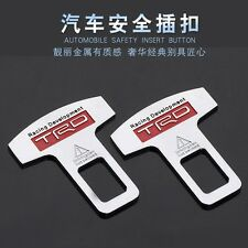 2x Chrome Seat Belt Buckle Safety Alarm Clasp Stopper Eliminator For TRD Racing