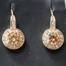 2 Ct Round Citrine Earring Stud Women Jewelry 14K White Gold Plated Free Ship
