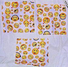 3 Emoji Wash Cloth Soft Absorbent Microfiber Smiles Hearts White Fun Smiling Set