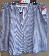 NWT $45 IZOD 3XLT TALL COTTON SLUB WOVEN SLEEP SHORTS Striped Pajama MEDIUM BLUE