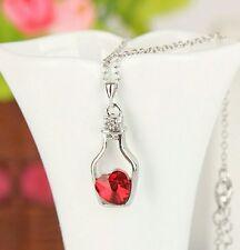 Red Ocean Heart Shape Crystal Locket Glass Bottle Pendant Necklace Silver Chain