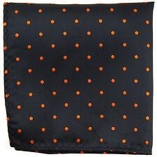 New Men's poly woven Pocket Square Hankie Handkerchief black_Orange polka dots