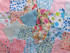 """10 x 4"""" Pink & Blue Poly cotton fabric patchwork Squares Craft Quilting"""
