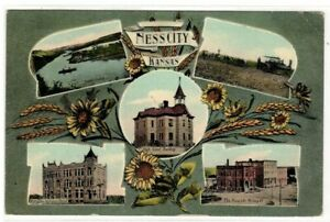 Ness City Kansas 1909 Postcard High School Plowing Fields Bank Milling Company