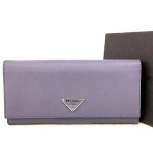 PRADA Logo Plate Purple Leather Long Bifold Wallet/E0967