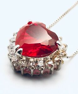 Vintage Ruby & Diamond Italy 10K Gold 925 Heart Pendant Necklace
