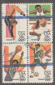 Scott C101-C104 Used Block of 4 Airmail, 1984 Summer Olympics