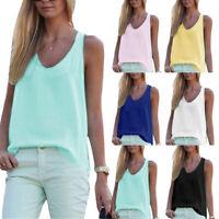 Women Tank Top Summer Vest Sleeveless T shirt Loose Chiffon Blouses Charm