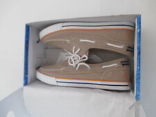 Nautica Boy's Spinnaker Tan Canvas Pintuck Oxfords Boat Shoes size 6