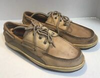 Sperry Mens Brown Leather Lace Up 3 Eye Boat Deck Shoes Size US 13M CH133