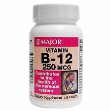 Major Vitamin B-12 250 mcg 130 Tablets, 1 Bottle Each, By Major Pharmaceuticals