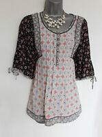 MONSOON Ivory Black Floral Print Short Sleeve Oriental Style Shirt Top UK 10 38