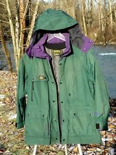 "GORE-TEX COAT L 48"" BUST GREEN & PURPLE WASHABLE NYLON ALPINE HOODED SOLSTICE"