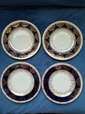 """Crown Ducal Ware Luncheon Plates 8"""" Cobalt/Gold Plated"""
