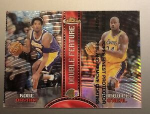 KOBE BRYANT SHAQUILLE O'NEAL 1999-00 TOPPS FINEST DOUBLE FEATURE RIGHT REFRACTOR