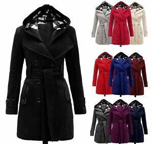 Womens Winter Coat Ladies Girls Belted Long Hooded Warm Jacket Size