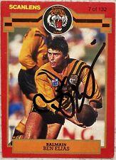 ✺Signed✺ 1986 Scanlens Stimorol Ben Elias (Balmain Tigers) NRL card