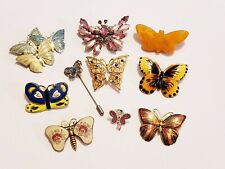 10 Piece Vintage and Modern Colorful Butterfly Brooch/Pin Lot - Monet