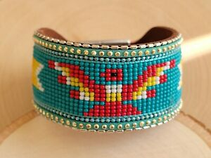 Native American Seed Beaded Bracelet - Colorful Thunder Bird Bracelet Turquoise