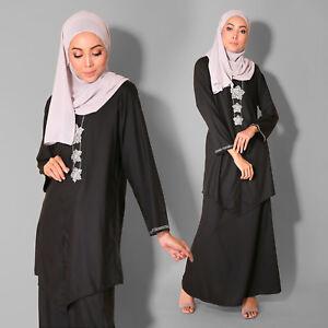 New Muslim Wear Cotton Bell Long sleeve Kebaya Diamond Plus Size Midnight Black