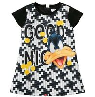 Fun & FunBlack Daffy Duck Print Dress 5-6