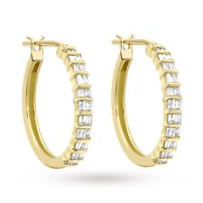 Pave 0.60 Cts Natural Diamonds Hoop Earrings In Certified 14K Fine Yellow Gold