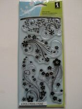INKADINKADO CLEAR STAMPS - MODERN FLOWER FLOURISH BNIP *LOOK*